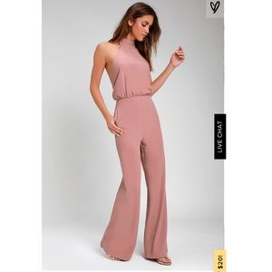LuLus Moment for Life Dusty Pink Halter Jumpsuit